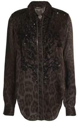 Roberto Cavalli Embellished Leopard-Print Silk-Crepe Top