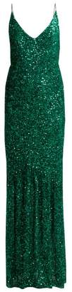 Saloni Aidan Sequinned Gown - Womens - Emerald