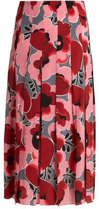 Gucci Poppy Print Pleated Silk Crepe De Chine Skirt - Womens - Pink