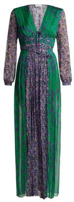 Raquel Diniz - Lily Floral Print Silk Georgette Gown - Womens - Green Multi