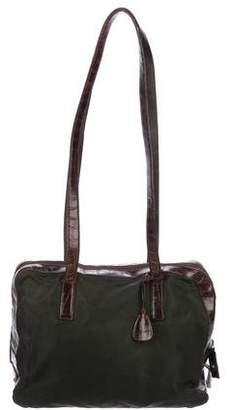 Prada Crocodile-Trimmed Tessuto Bag