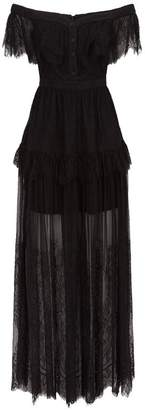 Self-Portrait Off-The-Shoulder Lace Maxi Dress