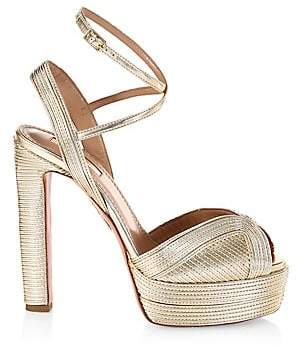 Aquazzura Women's Caprice Metallic Platform Sandals