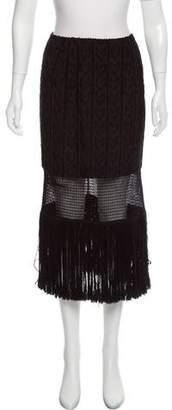 Tamara Mellon Fringe-Accented Midi Skirt