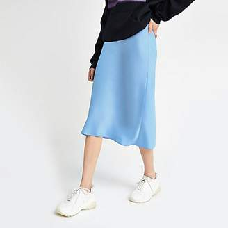 River Island Light blue bias cut midi skirt