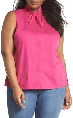 Sejour Tie Collar Cotton Blend Top (Plus Size)