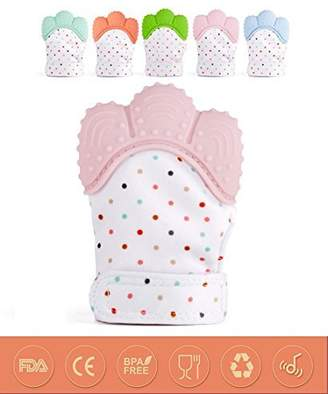 Teether Mitten Silicone Teething Gloves for Baby Approved Self-Soothing Pain Relief Teething Toys Prevent Baby from Eating Finger or Scratching Face(1-Pack Pink)