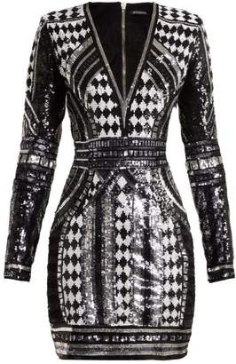 32d7b01688ca Balmain Sequin Embellished Mini Dress - Womens - Black Multi