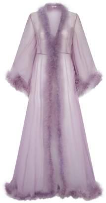 Rosamosario Long Feather Silk Chiffon Robe