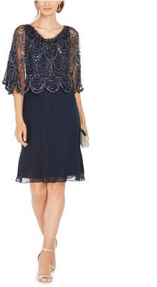 J Kara Sequined Scalloped Capelet Dress