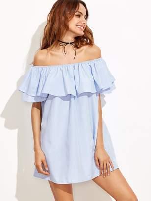 Shein Vertical Striped Layered Flounce Bardot Dress