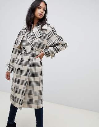 Asos Design DESIGN check tab oversized coat