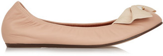 Lanvin - Bow-embellished Leather Ballet Flats - Blush $750 thestylecure.com