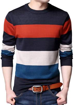 Zobek Mens Long Sleeve Knitwear Crew-Neck Sweater Pullover Tops
