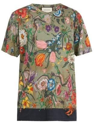 Gucci Flora Snake Print Linen Jersey T Shirt - Mens - Green Multi