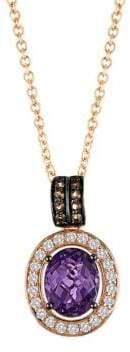 LeVian Le Vian Grape Amethyst, Vanilla Topaz, Chocolate Quartz & 14K Strawberry Gold Pendant Necklace
