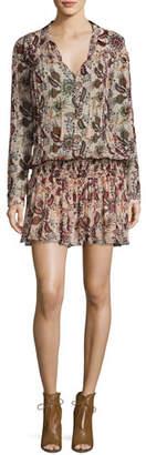 ba&sh Yanis Paisley Smocked-Waist Long-Sleeve Dress, Nude $320 thestylecure.com