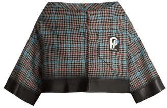 Prada Cropped Houndstooth Check Wool Blend Jacket - Womens - Grey Multi
