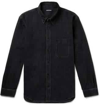 Balenciaga Button-Down Collar Logo-Print Denim Shirt