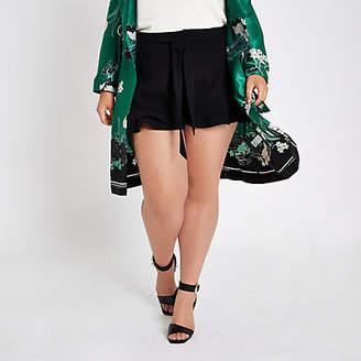 River Island Womens Plus Black frill hem tie waist shorts