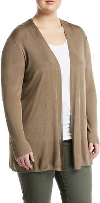Lafayette 148 New York Plus Ribbed Open-Front Cardigan, Plus Size