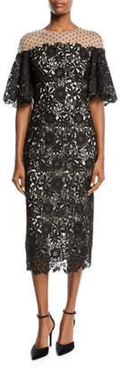 Monique Lhuillier Half-Sleeve Lace Midi Cocktail Dress