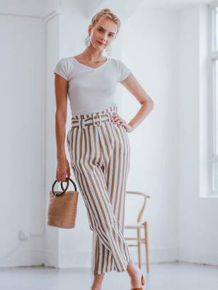 Goodnight Macaroon 'Joy' Striped High Waisted Belted Linen Pants