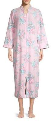 Miss Elaine Stand-Collar Floral Zip Nightgown