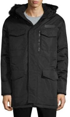 Faux Fur-Trimmed Hooded Jacket