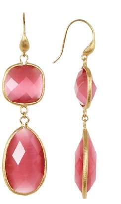 Rivka Friedman Faceted Raspberry Cat's Eye Crystal Bold Double Dangle Earrings
