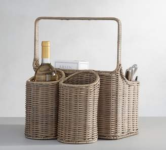 Pottery Barn Willow Woven Picnic Caddy Gray