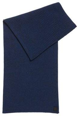 BOSS Hugo Ribbed scarf in a mouline cotton One Size Dark Blue