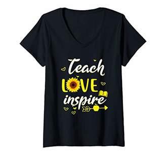 Womens Teach Love And Inspire Tee - Back To School Teacher Gift V-Neck T-Shirt