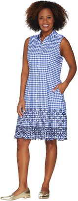 Isaac Mizrahi Live! Gingham Shirt Dress w/ Eyelet Embroidery