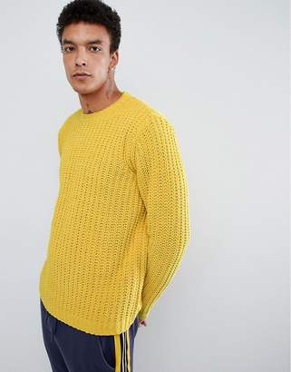 Asos DESIGN heavyweight chenille sweater in yellow