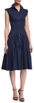 Zac Posen Sleeveless Tiered-Skirt Shirtdress, Navy $1,190 thestylecure.com