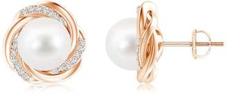 N. Angara.com Round Freshwater Cultured Pearl Knot Earrngs wth Damond Accents 14K Rose Gold (10mm Freshwater Cultured Pearl)