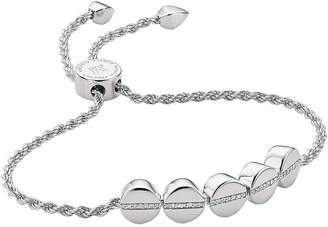 Monica Vinader Linear bead sterling silver and pavé diamond bracelet