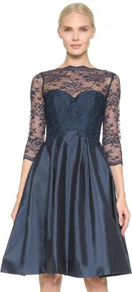 Monique Lhuillier Bridesmaids Lace Bodice V Back Dress $350 thestylecure.com