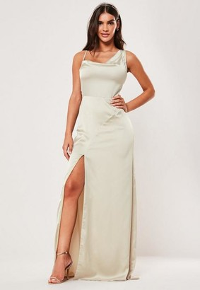 Missguided Bridesmaid Champagne Satin Cowl Neck Maxi Side Split Dress, Cream