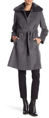 Via Spiga Genuine Dyed Rabbit Fur Trim Wing Collar Belted Wool Blend Coat