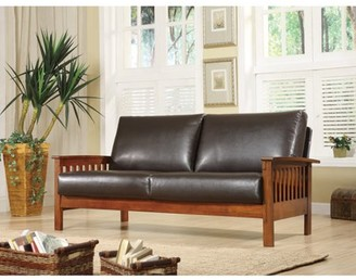 Weston Home Mission Oak Faux Leather Sofa, Dark Brown