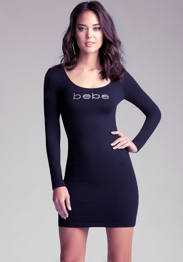 Bebe Long Sleeve Scuba Dress