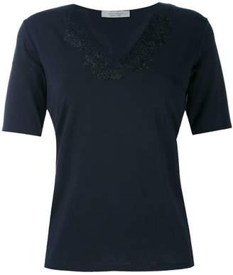 D-Exterior D.Exterior lace appliqué V-neck T-shirt