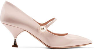 Miu Miu Faux Pearl-embellished Patent-leather Pumps - Pastel pink