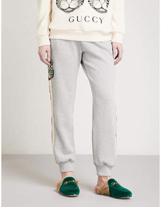 Gucci Striped cat cotton-jersey jogging bottoms
