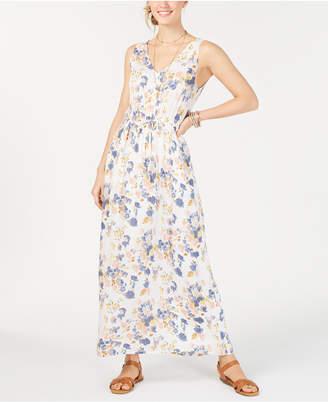 Lucky Brand Floral Tie Waist V-Neck Maxi Dress