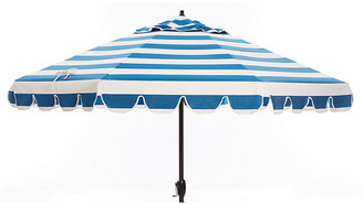 One Kings Lane Phoebe Scallop-Edge Patio Umbrella - Regatta Blue