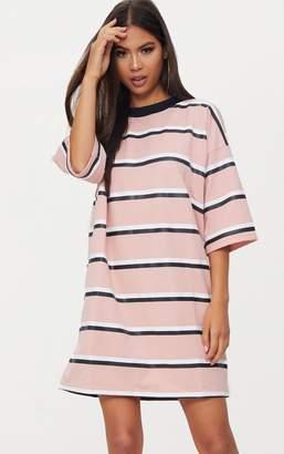 7d41c8fb13 at PrettyLittleThing · PrettyLittleThing Camel Striped Oversized Boyfriend  T Shirt Dress