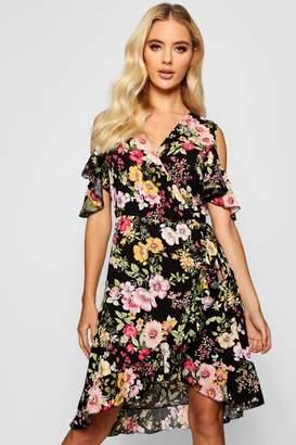 boohoo Floral Cold Shoulder Wrap Midi Dress